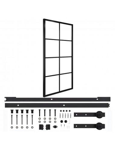 Stumdomos durys su įranga, 102,5x205cm, aliuminis ir stiklas   Durys   duodu.lt