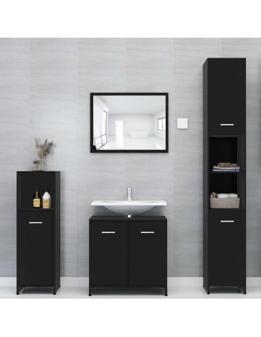 Vonios kambario baldų komplektas, 4 dalių, juodos spalvos, MDP | Vonios baldų komplektai | duodu.lt