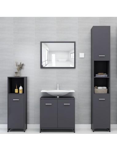 Vonios kambario baldų komplektas, 4 dalių, pilkos spalvos, MDP   Vonios baldų komplektai   duodu.lt