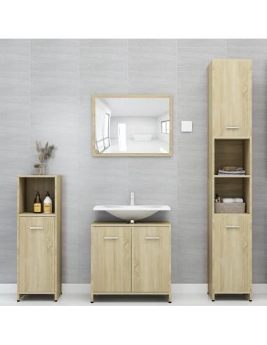 Vonios kambario baldų komplektas, 4 dalių, ąžuolo spalvos, MDP   Vonios baldų komplektai   duodu.lt