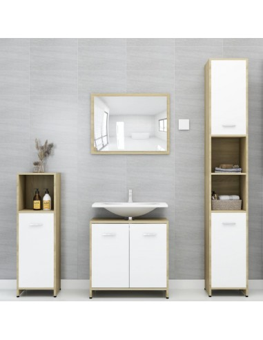 Vonios kambario baldų komplektas, 4 dalių, baltas/ąžuolo, MDP | Vonios baldų komplektai | duodu.lt