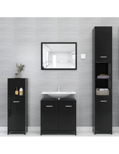 Vonios kambario baldų komplektas, 4 dalių, juodas, MDP, blizgus   Vonios baldų komplektai   duodu.lt