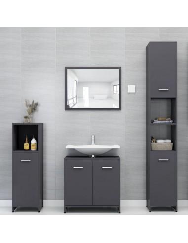 Vonios kambario baldų komplektas, 4 dalių, pilkas, MDP, blizgus | Vonios baldų komplektai | duodu.lt