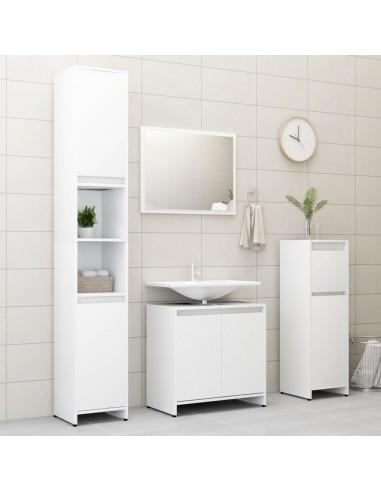 Vonios kambario baldų komplektas, 4 dalių, baltos spalvos, MDP | Vonios baldų komplektai | duodu.lt