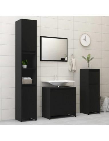 Vonios kambario baldų komplektas, 4 dalių, juodos spalvos, MDP   Vonios baldų komplektai   duodu.lt
