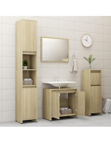 Vonios kambario baldų komplektas, 4 dalių, ąžuolo spalvos, MDP | Vonios baldų komplektai | duodu.lt