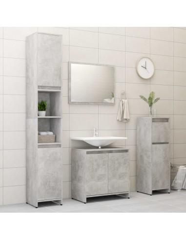 Vonios kambario baldų komplektas, 4 dalių, betono pilkas, MDP | Vonios baldų komplektai | duodu.lt