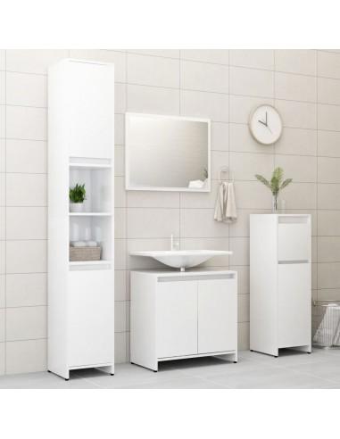Vonios kambario baldų komplektas, 4 dalių, baltas, MDP, blizgus | Vonios baldų komplektai | duodu.lt
