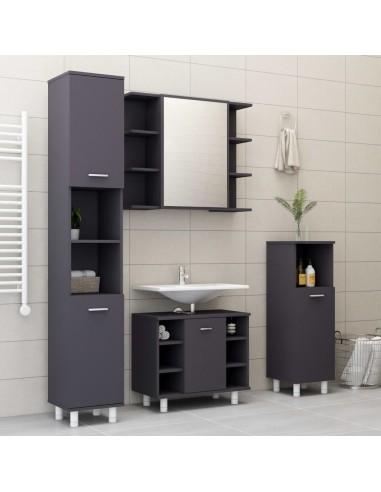 Vonios kambario baldų komplektas, 4 dalių, pilkos spalvos, MDP | Vonios baldų komplektai | duodu.lt