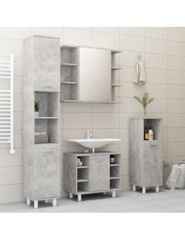 Vonios kambario baldų komplektas, 4 dalių, betono pilkas, MDP   Vonios baldų komplektai   duodu.lt