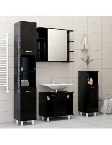 Vonios kambario baldų komplektas, 4 dalių, juodas, MDP, blizgus | Vonios baldų komplektai | duodu.lt