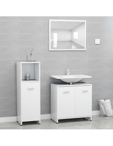 Vonios kambario baldų komplektas, 3 dalių, baltos spalvos, MDP | Vonios baldų komplektai | duodu.lt
