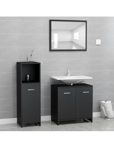 Vonios kambario baldų komplektas, 3 dalių, juodos spalvos, MDP   Vonios baldų komplektai   duodu.lt