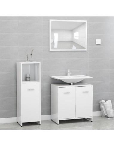 Vonios kambario baldų komplektas, 3 dalių, baltas, MDP, blizgus | Vonios baldų komplektai | duodu.lt
