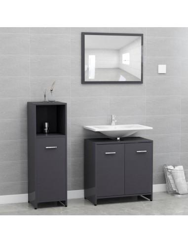 Vonios kambario baldų komplektas, 3 dalių, pilkas, MDP, blizgus | Vonios baldų komplektai | duodu.lt