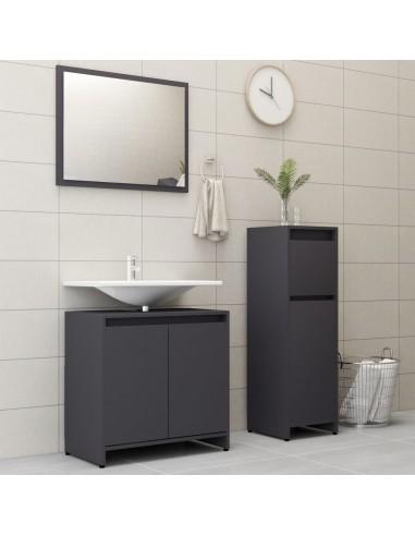Vonios kambario baldų komplektas, 3 dalių, pilkos spalvos, MDP   Vonios baldų komplektai   duodu.lt