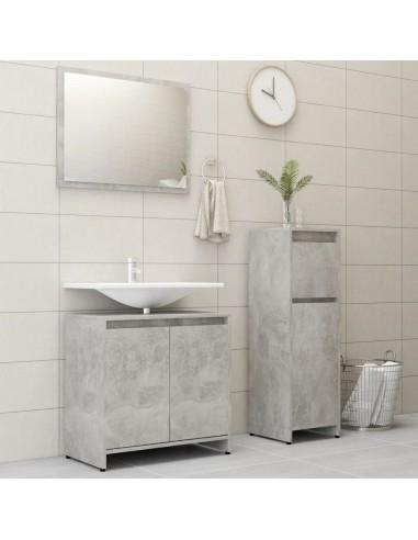 Vonios kambario baldų komplektas, 3 dalių, betono pilkas, MDP   Vonios baldų komplektai   duodu.lt