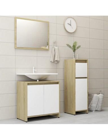 Vonios kambario baldų komplektas, 3 dalių, baltas/ąžuolo, MDP | Vonios baldų komplektai | duodu.lt