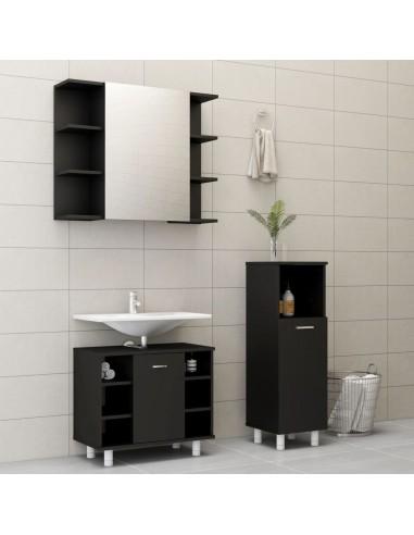 Vonios kambario baldų komplektas, 3 dalių, juodos spalvos, MDP | Vonios baldų komplektai | duodu.lt