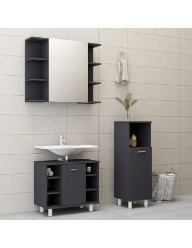 Vonios kambario baldų komplektas, 3 dalių, pilkos spalvos, MDP | Vonios baldų komplektai | duodu.lt
