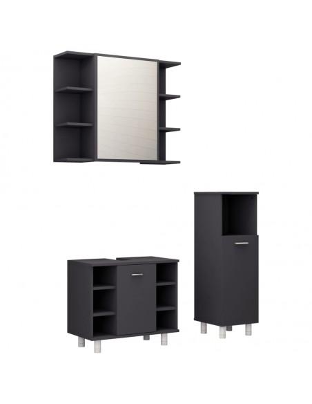 Pakab. naktiniai staliukai, 2vnt., juodi, 40x30x15cm, blizgūs | Naktiniai Staliukai | duodu.lt