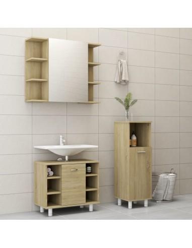 Vonios kambario baldų komplektas, 3 dalių, ąžuolo spalvos, MDP | Vonios baldų komplektai | duodu.lt