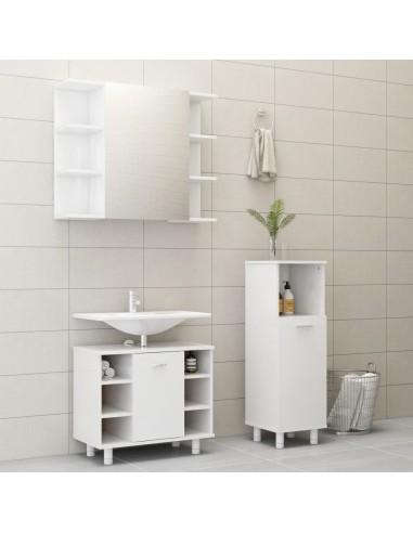 Vonios kambario baldų komplektas, 3 dalių, baltas, MDP, blizgus   Vonios baldų komplektai   duodu.lt