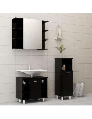 Vonios kambario baldų komplektas, 3 dalių, juodas, MDP, blizgus | Vonios baldų komplektai | duodu.lt
