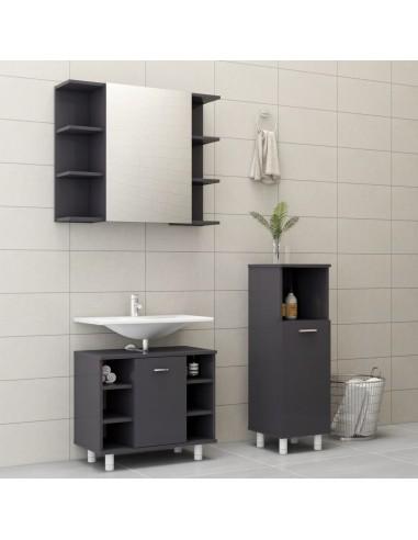 Vonios kambario baldų komplektas, 3 dalių, pilkas, MDP, blizgus   Vonios baldų komplektai   duodu.lt