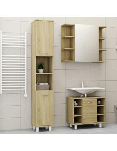 Vonios kambario baldų komplektas, 3 dalių, ąžuolo spalvos, MDP   Vonios baldų komplektai   duodu.lt