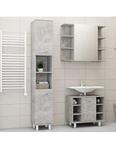 Vonios kambario baldų komplektas, 3 dalių, betono pilkas, MDP | Vonios baldų komplektai | duodu.lt