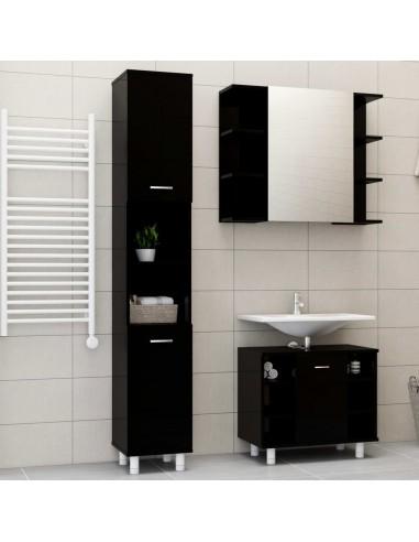 Vonios kambario baldų komplektas, 3 dalių, juodas, MDP, blizgus   Vonios baldų komplektai   duodu.lt
