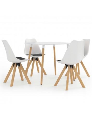 Valgomojo baldų komplektas, 5 dalių, juodos ir baltos spalvos | Virtuvės ir Valgomojo Baldų Komplektai | duodu.lt
