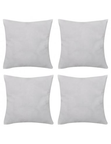 4 Balti Pagalvėlių Užvalkalai, Medvilnė, 50 x 50 cm | Dekoratyvinės pagalvėlės | duodu.lt