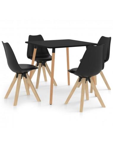 Valgomojo baldų komplektas, 5 dalių, juodas (287239+324226) | Virtuvės ir Valgomojo Baldų Komplektai | duodu.lt