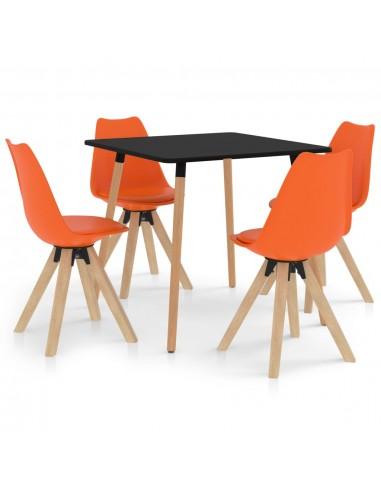 Valgomojo komplektas, 5 dalių, oranžinis | Virtuvės ir Valgomojo Baldų Komplektai | duodu.lt
