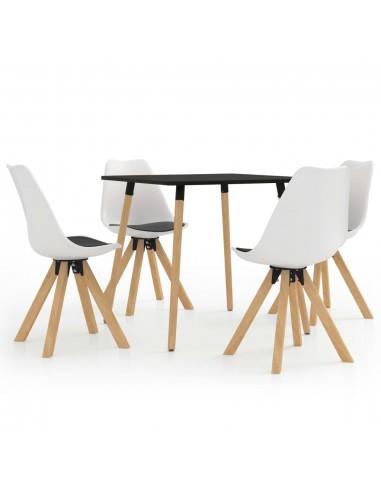 Valgomojo baldų komplektas, 5 dalių, juodos ir baltos spalvos   Virtuvės ir Valgomojo Baldų Komplektai   duodu.lt