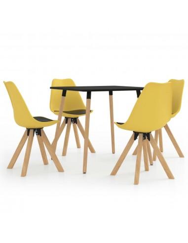 Valgomojo baldų komplektas, 5 dalių, juodos ir geltonos spalvos | Virtuvės ir Valgomojo Baldų Komplektai | duodu.lt
