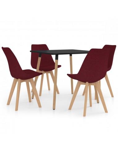Valgomojo baldų komplektas, 5 dalių, vyno (287239+324170) | Virtuvės ir Valgomojo Baldų Komplektai | duodu.lt