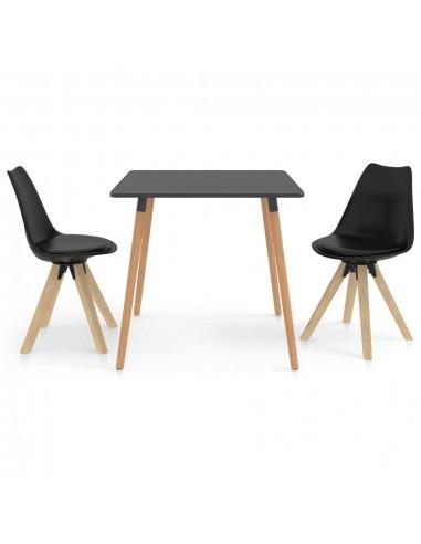 Valgomojo baldų komplektas, 3 dalių, juodas (287240+324225) | Virtuvės ir Valgomojo Baldų Komplektai | duodu.lt