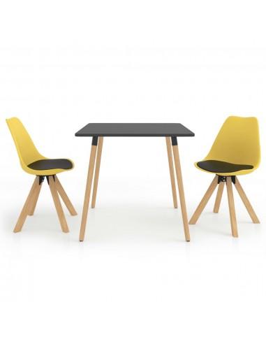 Valgomojo baldų komplektas, 3 dalių, juodos ir geltonos spalvos | Virtuvės ir Valgomojo Baldų Komplektai | duodu.lt