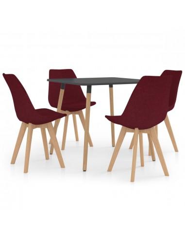 Valgomojo baldų komplektas, 5 dalių, vyno (287240+324170) | Virtuvės ir Valgomojo Baldų Komplektai | duodu.lt