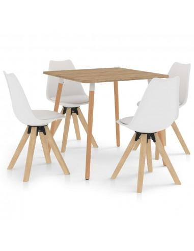 Valgomojo baldų komplektas, 5 dalių, baltas (287241+324222)   Virtuvės ir Valgomojo Baldų Komplektai   duodu.lt