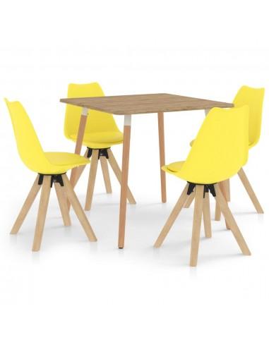 Valgomojo komplektas, 5 dalių, geltonos spalvos | Virtuvės ir Valgomojo Baldų Komplektai | duodu.lt