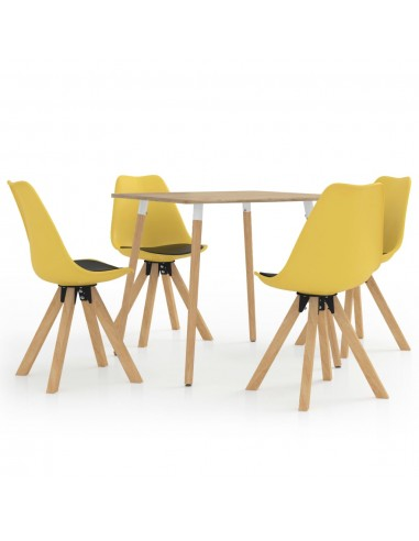 Valgomojo baldų komplektas, 5 dalių, juodos ir geltonos spalvos   Virtuvės ir Valgomojo Baldų Komplektai   duodu.lt