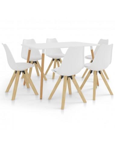 Valgomojo baldų komplektas, 7 dalių, baltas (287242+3x324221) | Virtuvės ir Valgomojo Baldų Komplektai | duodu.lt
