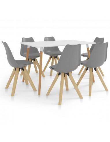 Valgomojo baldų komplektas, 7 dalių, pilkas (287242+3x324223) | Virtuvės ir Valgomojo Baldų Komplektai | duodu.lt