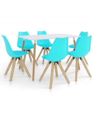 Valgomojo baldų komplektas, 7 dalių, mėlynas (287242+3x324235) | Virtuvės ir Valgomojo Baldų Komplektai | duodu.lt