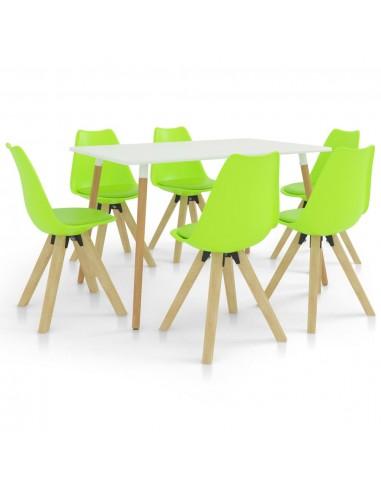 Valgomojo baldų komplektas, 7 dalių, žalias (287242+3x324237) | Virtuvės ir Valgomojo Baldų Komplektai | duodu.lt