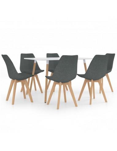 Valgomojo baldų komplektas, 7 dalių, pilkas (287242+3x324159)   Virtuvės ir Valgomojo Baldų Komplektai   duodu.lt